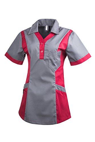 Clinotest Damenkasack Julia, Gesundheitswesen, Pflege (L, grau/brombeer dunkel)