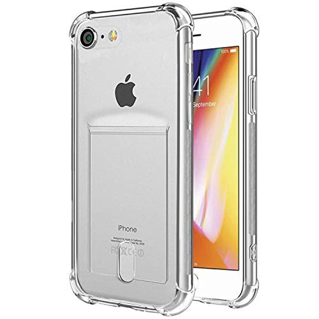 ANHONG iPhone 7,iPhone 8 Clear Case with Card Holder, [Slim Fit] Protective Soft TPU Shock-Absorbing Bumper Case with Soft Screen Protector, Compatible iPhone 7/ iPhone 8 4.7 Inch