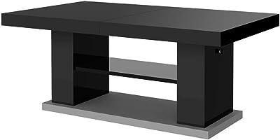 Matera 2 Designer Coffee Table High Gloss Column Table Height Adjustable Extendable Dining Table Sofa Table Grey Black High Gloss Amazon De Kuche Haushalt