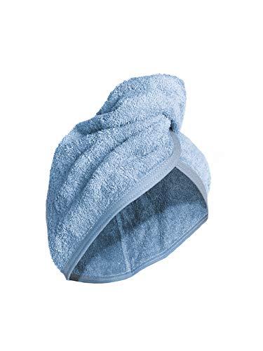 Sophie Bernard ZOE Kopfhandtuch Haar-Turban 100% Frottee für alle Damen und Haartypen. Kopftuch mit Knopf. Haartuch saugfähig und schnell trocknend. Farbe: hell blau