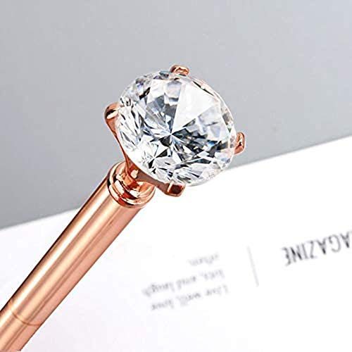 2PCS Rose Gold Diamond Pens with Crystal Diamond Ballpoint Pen Bling Metal Ballpoint Pen with 10pcs Refills for Offices School Weeding Party Photo #2