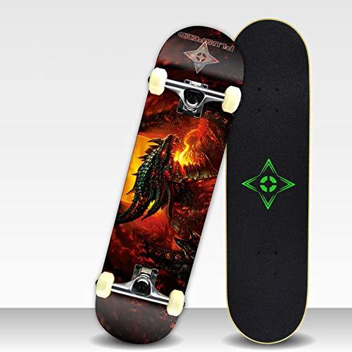 YSCYLY Skateboard Classics,7 Layer Maple Wood Double Warp Professionelles Skateboard,Drop-Through Freeride Skaten Cruiser Boards