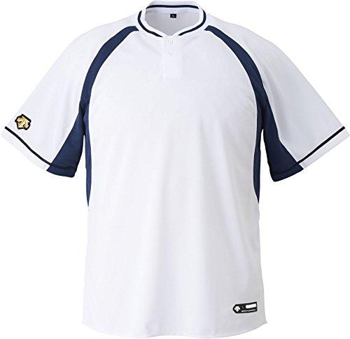 DESCENTE(デサント) 野球 2ボタンベースボールシャツ ホワイト×ネイビー Mサイズ DB103B