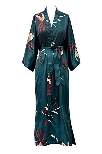 KIM+ONO Satin Kimono Robe Long - Hana - Teal (Blue)