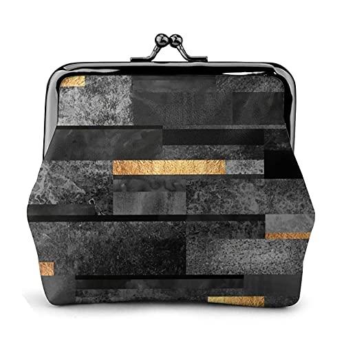 Coin Purse Wallet PU Leather Bag Urban Black Gold Womens Wallet Clutch Bag Ladies Retro Vintage Print Small Hasp