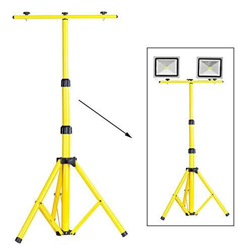 Telescopisch statief voor bouwspots LED halogeen spotlight schijnwerper geel stalen statief werklamp 58-160cm DE
