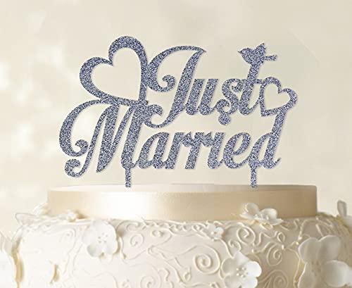 Printtoo Just Married Topper na tort weselny na zamówienie imię Topper na ciasto Opcja koloru dostępna 12,5 cm szerokości