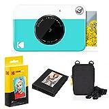 Kodak Printomatic Instant Camera Bundle (Blue) Zink Paper (20 Sheets) - Case - Photo Album - Hanging Frames.