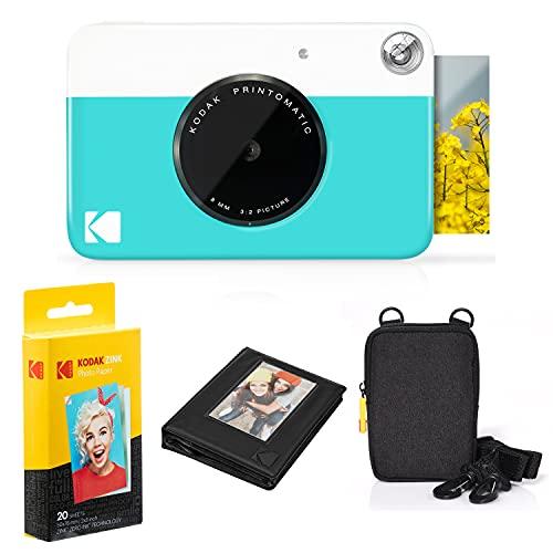 KODAK: Paquete cámara instantánea Printomatic (Azul) + Papel Zink (20 Hojas) + Funda álbum de Fotos + Marcos para Colgar + cómoda Correa para el Cuello.
