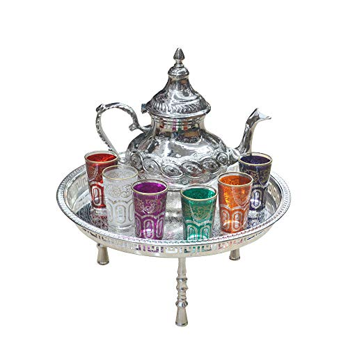 Beautiful and complete Moroccan tea set: large teapot 1 litre + stainless steel tray diameter 45 cm + 6 coloured glass glasses