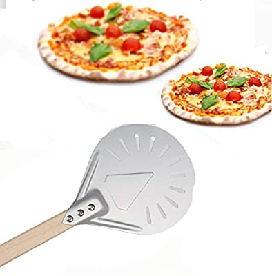 Aluminum Turning Pizza Peel Paddle - (7/8/9/12 Inch)Pizza Turning Peel Round,Pizza Turning Peel Perforated, for an Outdoor Or Indoor Pizza Grill Oven,Good Assistant (9 Inch) from YXKC