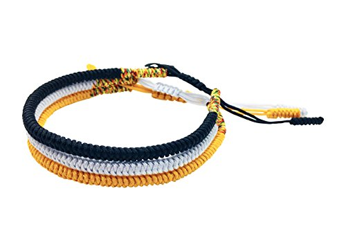 Tibetan Buddhist Handmade Lucky Knot Rope Bracelet (Set of 3 - Black, Silver, Gold)