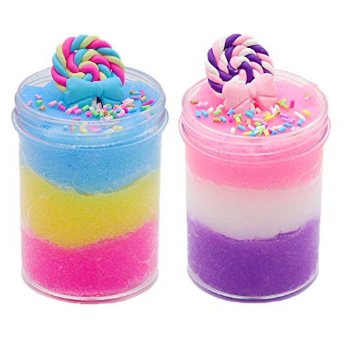 SWZY Lollipop Slime Kit Cloud Slime Putty Fluffy Cloud Slime Poopsie Slime Supplies Unicorn Surprise Slime Toy for Children And Adults(120ml * 2 Pack)