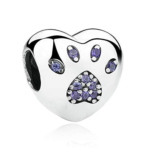 LILIANG Charm Jewelry DIY Jewelry 100% Plata De Ley 925 Cuentas En Forma De Corazón Crystal Paw Print Charm Fit Original Charm De Pulsera