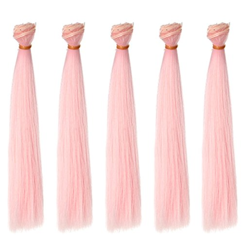 MUZI WIG 5 PCS/Lot,9 Inch x 39 Inch Straight Bady Pink Synthetic Hair Extension for Making BJD Blythe Pullip Doll Wigs