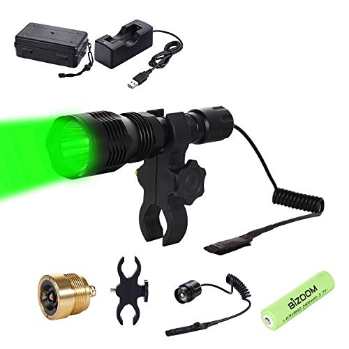 BIZOOM KL25 Hunting Light Flashlight, Long Range Red Green Varmint Light Kit for Predator Hog Fox Coyote, with Remote Pressure Switch,18650 Battery&Charger