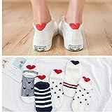 WYLLA Socken, 5 Paare Frauen-Baumwollsocken-Rosa-Nette Katzen-Knöchelsocken-Socken beiläufige Tierohr-rotes Herz Gril Socken 35-40