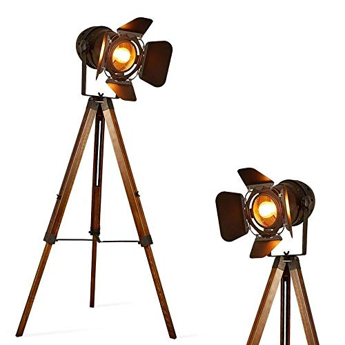 Barcelona LED Vintage Stehleuchte Tripod Stehlampe Deckenfluter im Cinema Stil, mit Dreifuß aus Holz Stativ Holz, Studiolampe, Studioleuchte, Wohnzimmerlampe, Wohnzimmerleuchte, LV 234
