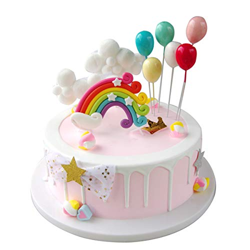Sunormi Balloons Clouds And Rainbow Cake Toppers Set Kids Baby Shower Birthday Cake Cupcake Decoration