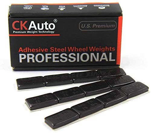 CKAuto 1oz, Black, Adhesive Stick on Wheel Weights,EasyPeel Tape. Low Profile, 72 oz/Box, US Quality (72pcs)