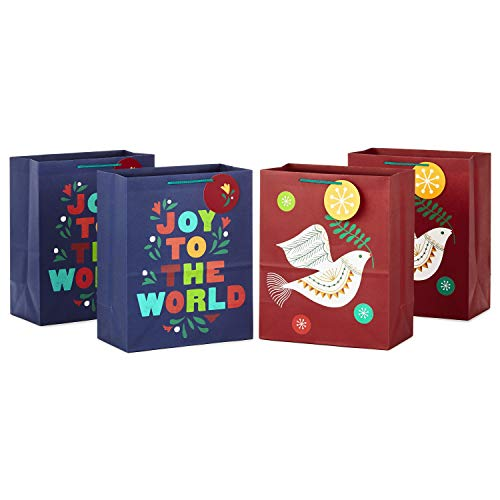 Hallmark Holiday Gift Bag Bundle (4 Large 13' Gift Bags, 2 Designs in Navy Blue, Dark Red, Orange, Green) 'Joy to the World,' Peace Dove for Christmas, Hanukkah, Kwanzaa, Three Kings Day