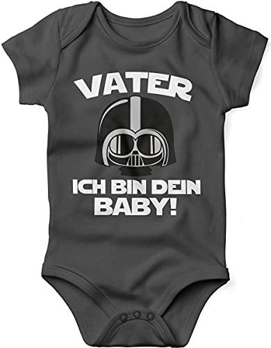 Mikalino miKalino Babybody mit Spruch für Jungen Mädchen Unisex kurzarm Vater - ich bin Dein Baby!   handbedruckt in Deutschland   Handmade with love, Farbe:darkgrey, Grösse:56