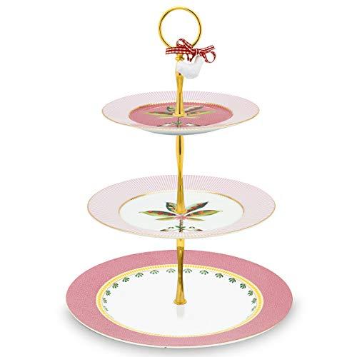 PiP Studio Cake Stand 3/Layers La Majorelle Pink 17-21-26.5cm