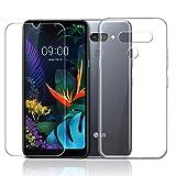 LJSM Hülle für LG K50 + Panzerglas Bildschirmschutzfolie Schutzfolie - Transparent Weich Silikon Schutzhülle Crystal Flexibel TPU Tasche Hülle für LG K50 (6.26