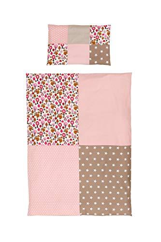 ULLENBOOM ® Kinder Bettwäsche 100x135 cm Sand Eichhörnchen (Made in EU) - Kissenbezug (40 x 60 cm) und Deckenbezug (100 x 135 cm), Kinder- & Baby Bettwäsche aus Baumwolle, Design: Patchwork