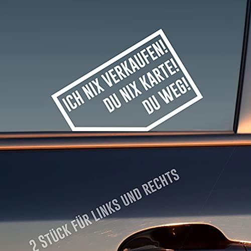 Hellweg Druckerei Ich nix nix Karte! Du Weg! 2 Stück Rechts & Links Auto Aufkleber Sticker Heckscheibenaufkleber