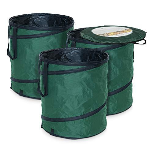 Navaris Sacos de jardín desplegables - Contenedores Plegables para desechos de jardín con Capacidad para 160L - Set de 3
