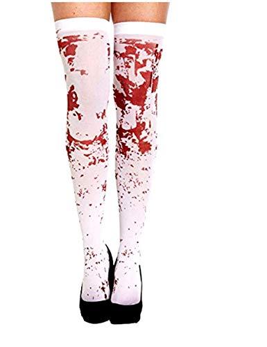Calcetines Blancos con Manchas de Sangre para disfraz Mujer Zombi