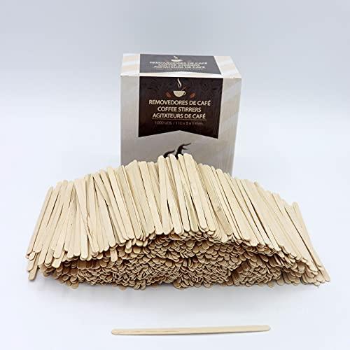 1000 paletinas de café de Madera de 11 cm. Palitos de café Desechables, Palitos removedores de café. agitadores de café y te. Palos para manualidades.