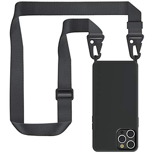 """ZhinkArts Handykette kompatibel mit Apple iPhone 12/12 Pro - 6,1\"""" Display - Smartphone Necklace Hülle mit Band - Handyhülle Silikon Case mit Kette zum umhängen in Schwarz Modular"""