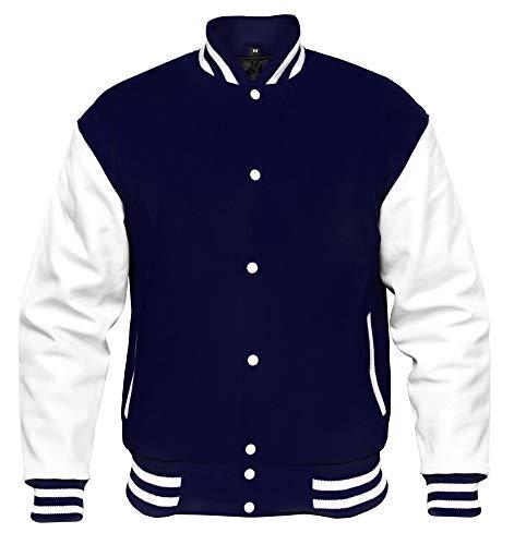 VINTAGE BASICS College Jacke - Unisex Baseball Jacke - Oldschool Varsity Jacke aus Wolle für Herren und Damen Blau 3XL