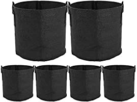 ValueHall Grow Bags Thickened Nonwoven Aeration Fabric Pots Plant Grow Bags Plant Pots with Handles V8020 (6 Pack- 3 Gallons)
