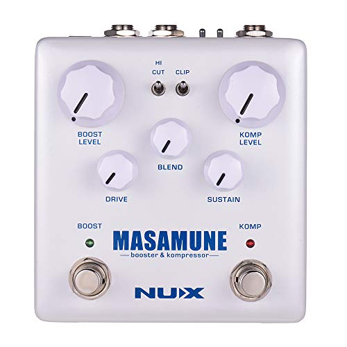 Muslady Gitarren-Effektpedalverstärker und Kompressor, Analog-Boost-Kompressor, Dual-Fußschalter, True Bypass