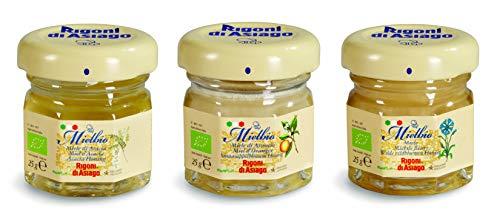 Rigoni di Asiago - MIele Biologico MielBio Monoporzione Assortimento in 3 Varietà: Miele di Fiori + Miele di Acacia + Miele di Arancio. 18 Pezzi Totali in Barattolini di Vetro Monodose da 25 Grammi.