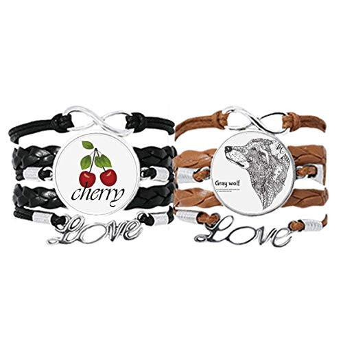 Bestchong Gray Wolf Friend Company Art Deco Gift Fashion Bracelet Hand Strap Leather Rope Cherry Love Wristband Double Set
