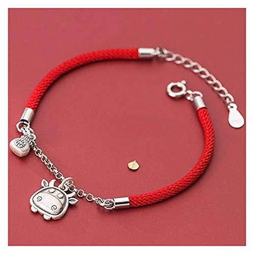 AnimeFiG Lucky Charm Bracelet 2021 Año del OX S925 ST925 Sterling Silver Bull Bull Money Bolsa Colgante Red Rojo Pulsera Amuleto Ajuste Atraer Riqueza