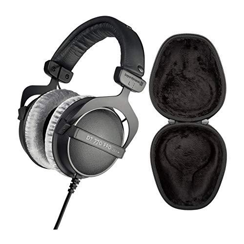 Beyerdynamic DT 770 PRO 80 Ohm Over-Ear Studio Headphones (Black) with Knox Gear Hard Shell Headphone Case Bundle (2 Items)