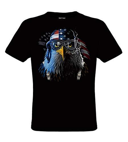 DarkArt-Designs Freedom Fighter - Adler als Pilot Motiv T-Shirt für Kinder und Erwachsene - Tiermotiv Shirt Adler Vogel Wildlife Fun Party&Freizeit Lifestyle Regular fit, Größe M, schwarz
