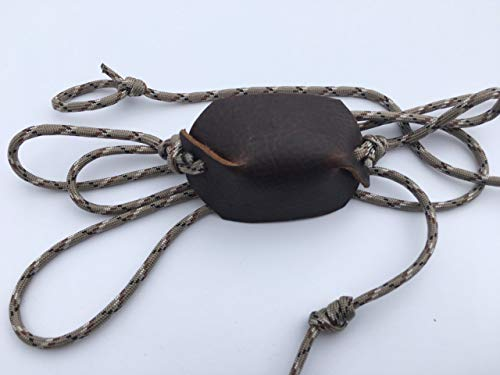 Desert Camo Paracord and Leather Cupped Pouch Shepherd Sling Handmade by David The Shepherd (27)
