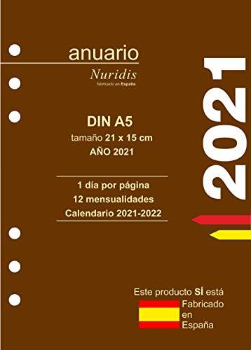 Recambio de agenda español. Año 2021. 1 día por página. DIN A5 (21 x 15 cm) con hojas extra