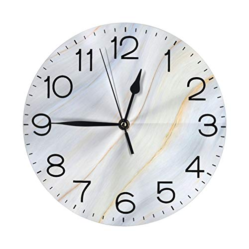 N/W Light White Marble Wall Clock 10 Round,- Battery Operated Wall Clock Clocks for Home Decor Living Room Kitchen Bedroom Office School