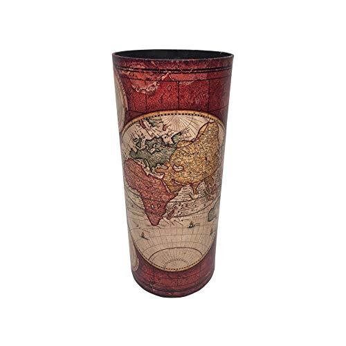 Rebecca Mobili Porta Ombrelli Rosso, Porta-Ombrello Tondo, Canvas MDF, Stile Vintage, Casa Ufficio - Misure 54 x 23 x 23 cm (HxLxP) - Art. RE6392
