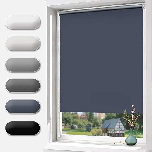 BelleMax Rollo ohne Bohren Verdunklungsrollo Klemmfix Lichtundurchlässig und Lichtdicht Thermorollo für Fenster und Tür 45 x 150 cm(BxH) Dunkelblau