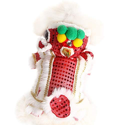 Adarl Lion Dance Dog Costume with Sequin Decor, Chinese New Year Dog Costume, Also Suit for Halloween, Cosplay and Christmas,Red/M