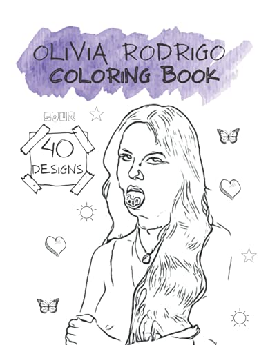 Olivia Rodrigo Sour Coloring Book: Matte Finish Cover, 8.5 x 11, 40 Designs w/ Blank Backs
