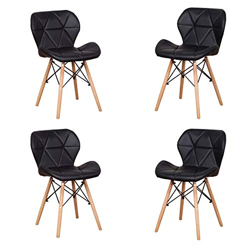 Uderkiny Lot de 4 chaises - Chaise de Salle à Manger avec Dossier en Cuir et Pieds en Bois de hêtre, Convient à la Salle à Manger à la Cuisine au Salon, etc (Noir01)